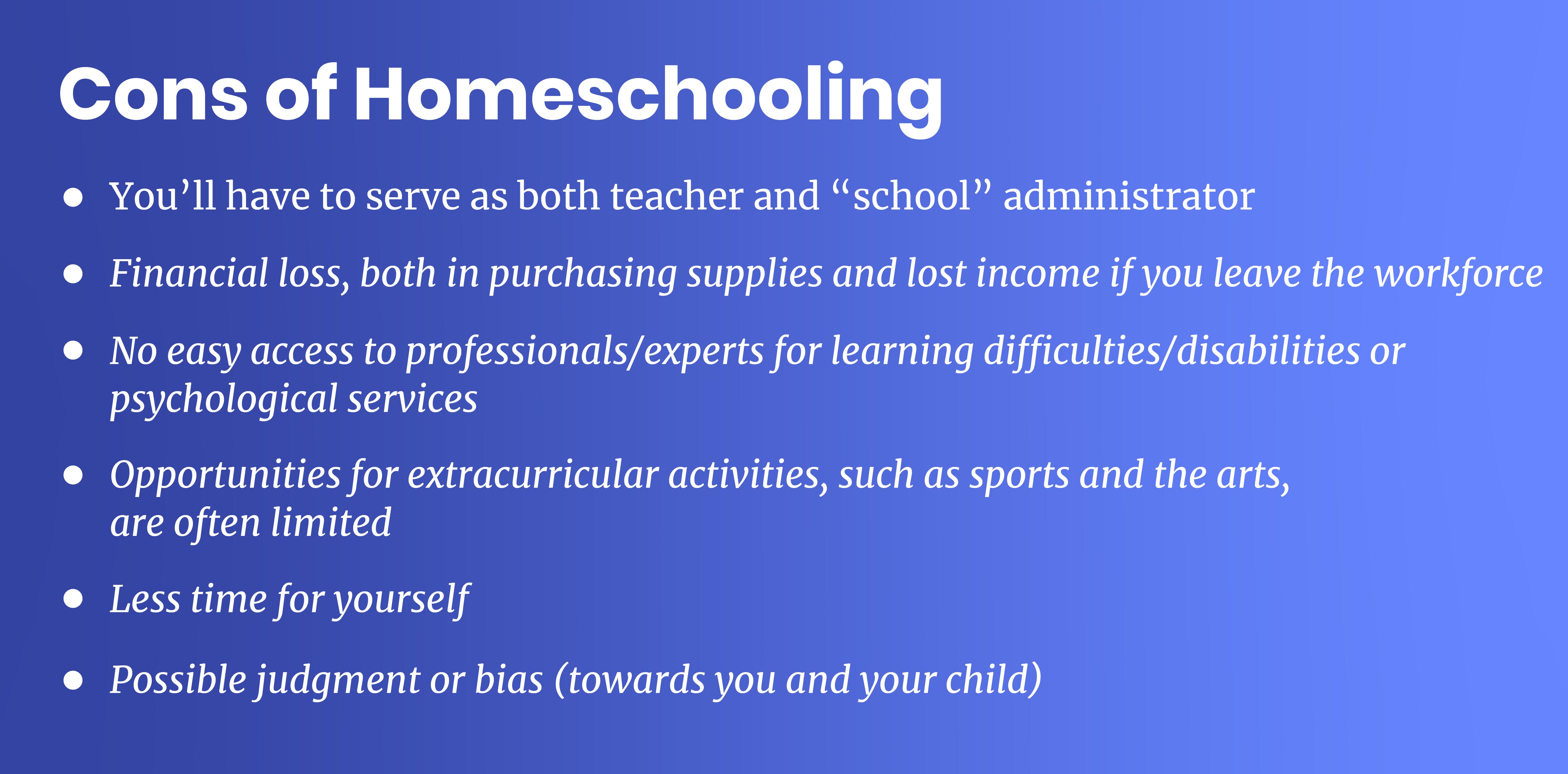 homeschooling cons
