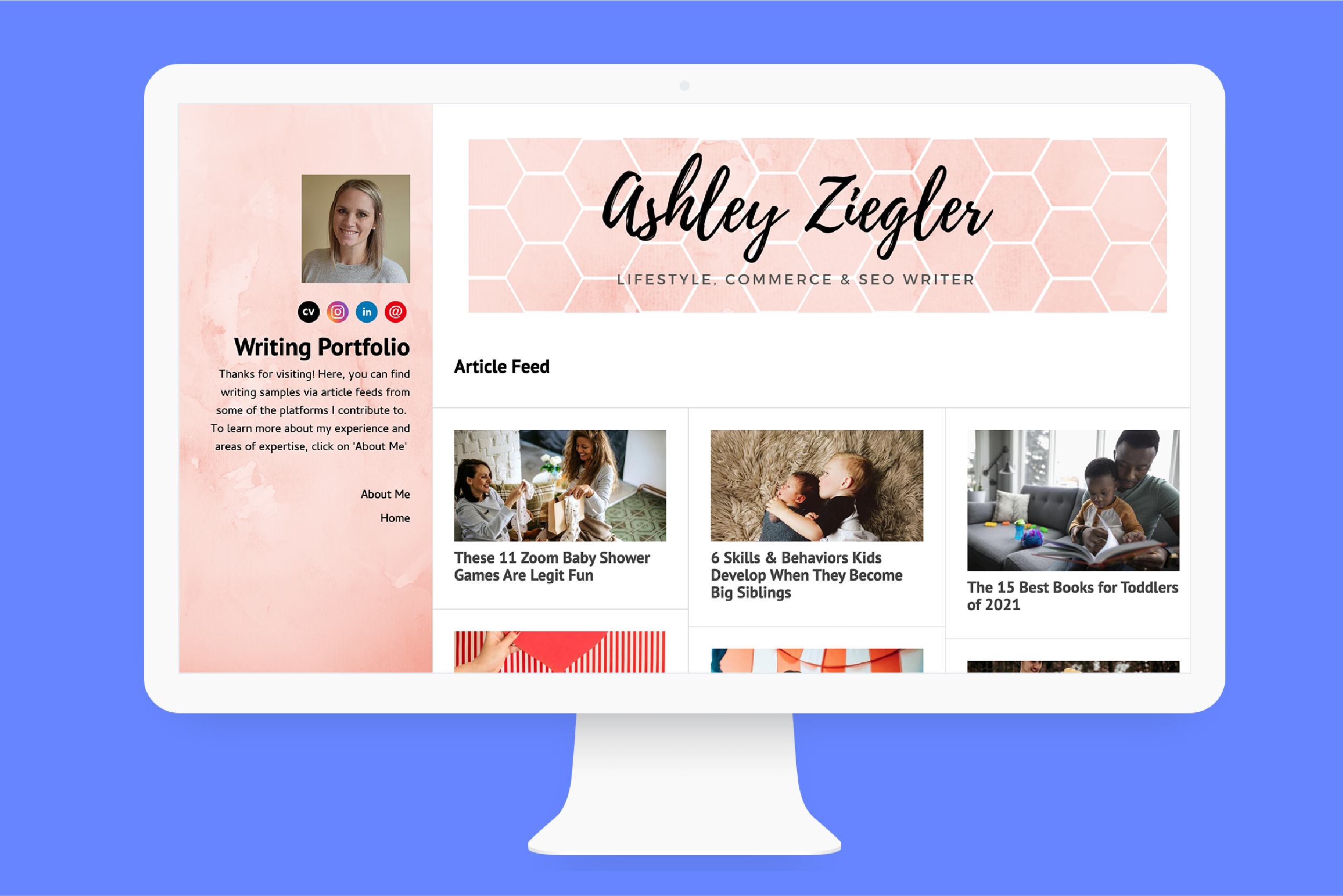 Ashley's website home page