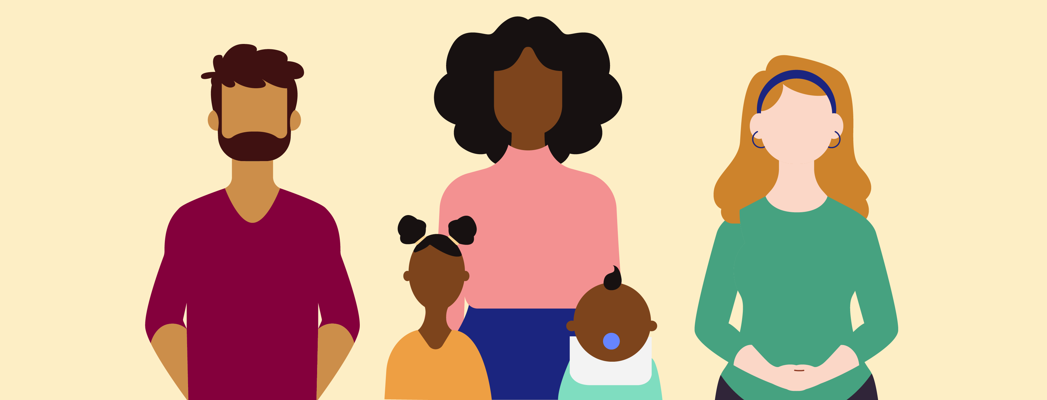 illustration of a mom with kids and her coworkers